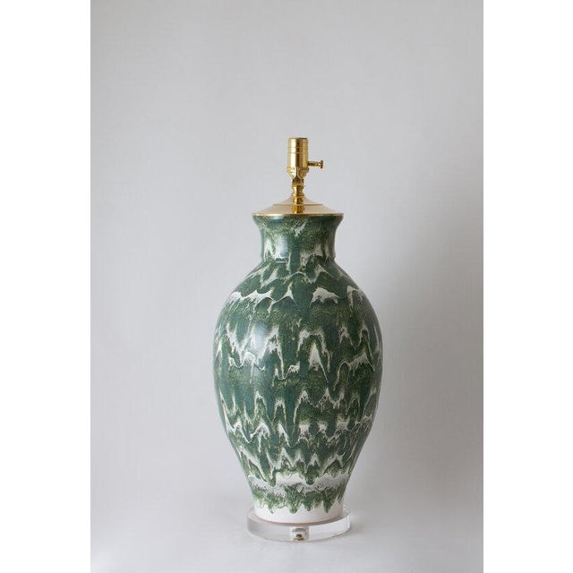 """Contemporary Paul Schneider Ceramic """"Matagorda"""" Lamp in Drip Banded Forrest Glaze For Sale - Image 3 of 7"""