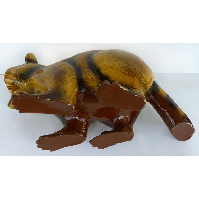 Black Papier Mache Raccoon Sculpture by Sergio Bustamante For Sale - Image 8 of 9