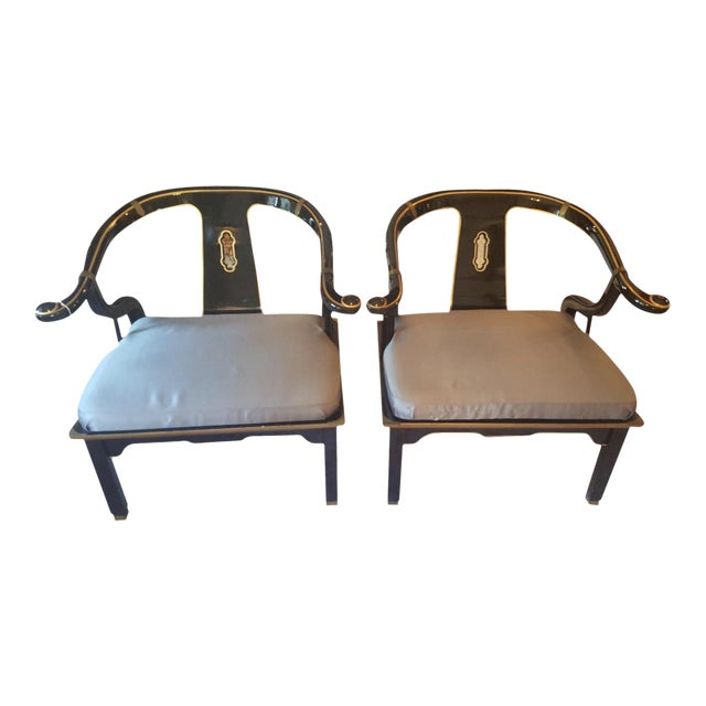 James Mont Horseshoe Chairs - A Pair For Sale