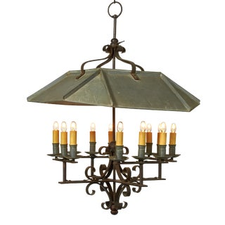 Hooded Country Farmhouse 12 Light Chandelier For Sale