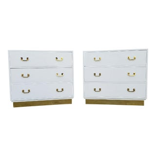 Vintage White Campaign Chests - A Pair