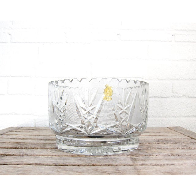 This stunning hand cut lead crystal bowl was produced by the 'World's Finest' Imperlux in Germany. It features a geometric...