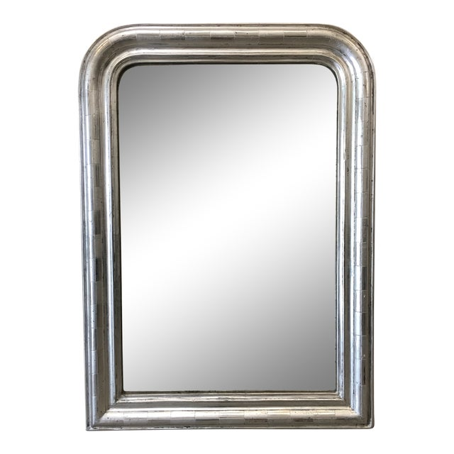 French Antique Louis Philippe Silver Mirror With Distressed Mirror For Sale