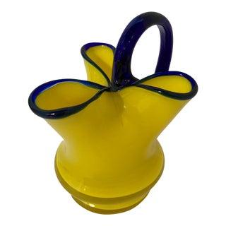 Vintage Tango Yellow & Cobalt Bohemian Art Glass Pitcher by Loetz For Sale