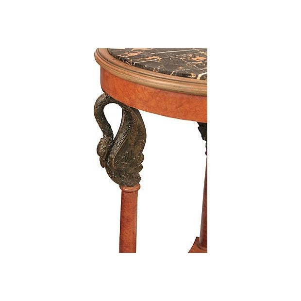 Empire Style Carved Side Table With Marble - Image 2 of 3