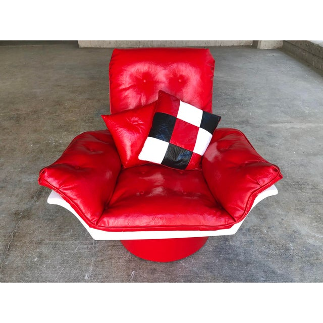 Mid Century Modern Space Age Red Leather Swivel Lounge Chair Molded Plastic Decorion Futorian Italian Style Vintage MCM For Sale - Image 11 of 11