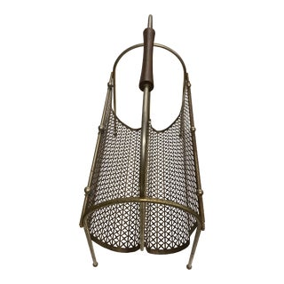 Vintage Midcentury Brass Geometric Metal Mesh Magazine Rack For Sale