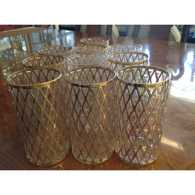 Mid-Century Gold Drinking Tumbler Glasses - S/10 - Image 4 of 7