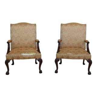 Hickory Chair Co Ball & Claw Mahogany Library Chairs - a Pair For Sale