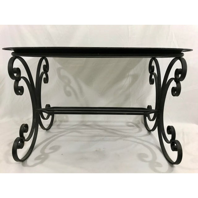 Napoleon III Painted Tray on Custom Art Deco Wrought Iron Stand For Sale - Image 4 of 9