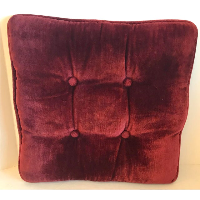 Vintage Mid-Century Red Velvet Square Tufted Pillow For Sale - Image 9 of 9