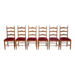 Set of 6 Early 20th-C. English Country Ladder-Back Chairs With Red Velvet Upholstery For Sale