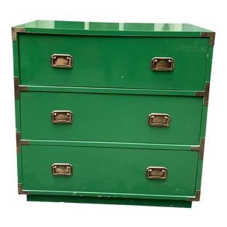 1960s Vintage Campaign Style Green Lacquered Chest For Sale
