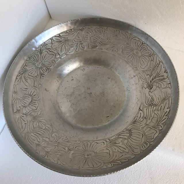 Silver Vintage Handmade Etched Metal Tray For Sale - Image 8 of 11