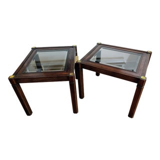Vintage Mid-Century Wood Brass and Glass End Tables - a Pair For Sale