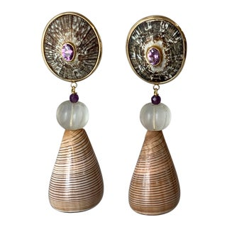 14-Karat Gold Seashell Earrings For Sale