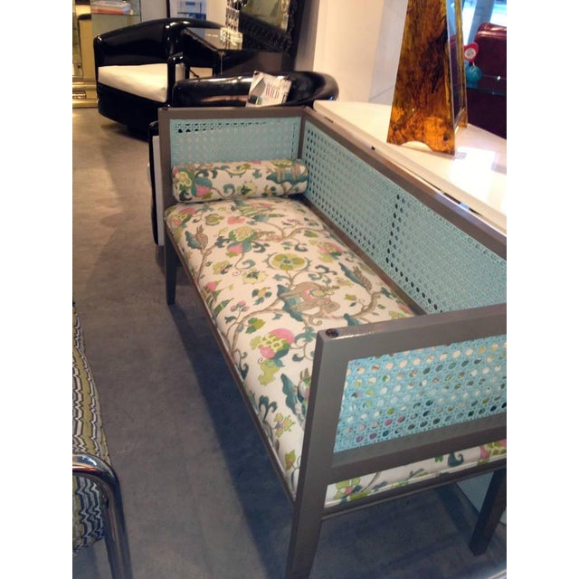 Mid-Century Modern Lacquered & Newly Upholstered Regency Style Settee - Image 5 of 12