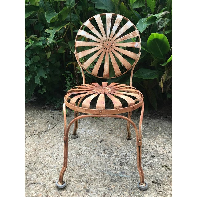 Vintage 1930 S Francois Carre French Sunburst Metal Garden Or Patio Chairs All Original And Patinated