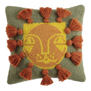 """Leo with Tassels Hook Pillow, 16"""" x 16"""" For Sale"""