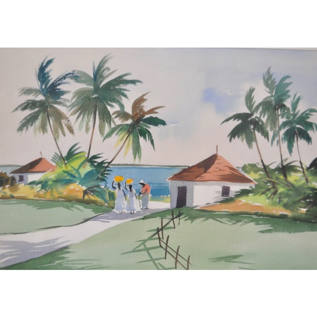 Mid-Century Caribbean Watercolor by John Ward For Sale - Image 4 of 6