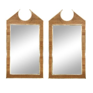 Two Large French Braided Rattan Frame Mirrors For Sale