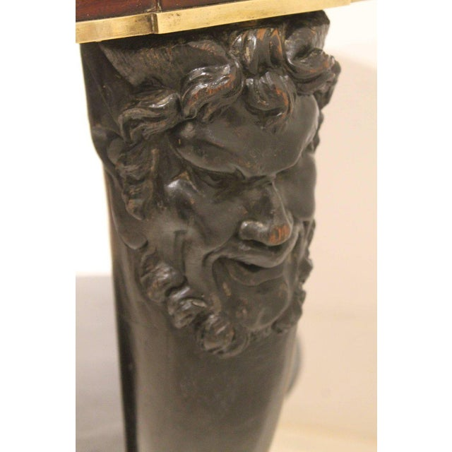 Early 19th Century Carved Fauna Head Empire Tripod Pedestal Table in Mahogany, Marble & Giltbronze For Sale - Image 5 of 12