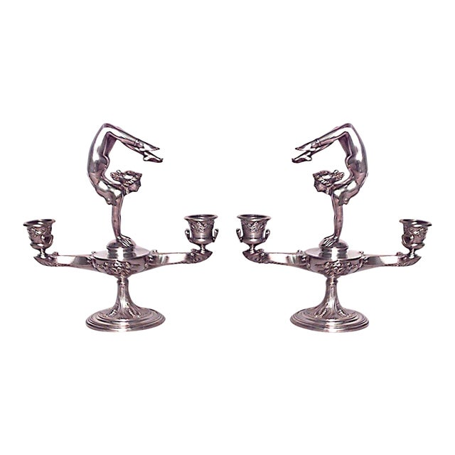 Pair of French Art Nouveau Silver Plate Over Bronze Candelabras For Sale