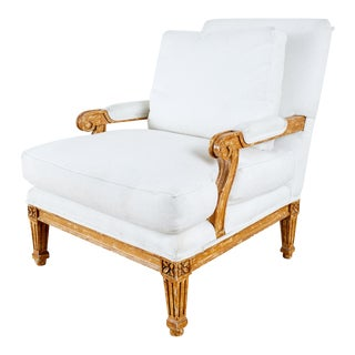 Regency Style White Linen Painted Armchair For Sale
