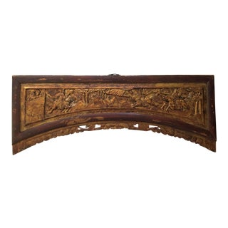 Antique Chinese Lacquered Gilt Carved Wooden Panel For Sale
