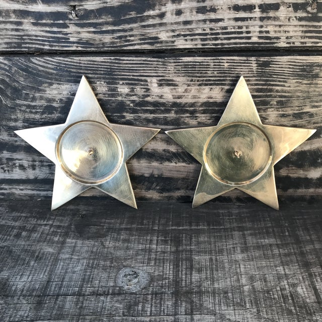 Vintage Star Shape Solid Brass Pillar Candle Holders - a Pair For Sale - Image 9 of 9