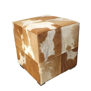 Modern Tan/White Cowhide Ottoman For Sale