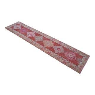 Hand-Knotted Distressed Turkish Runner Rug. Low Pile Full Tribal Design Runner 2′9″ × 12′6″ For Sale