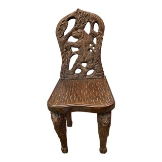 """""""Goldilocks"""" Black Forest Childs Chair With Bear Motif For Sale"""