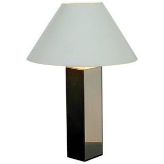 1970s Mid-Century Modern Laurel Slate and Polished Aluminum Table Lamp For Sale