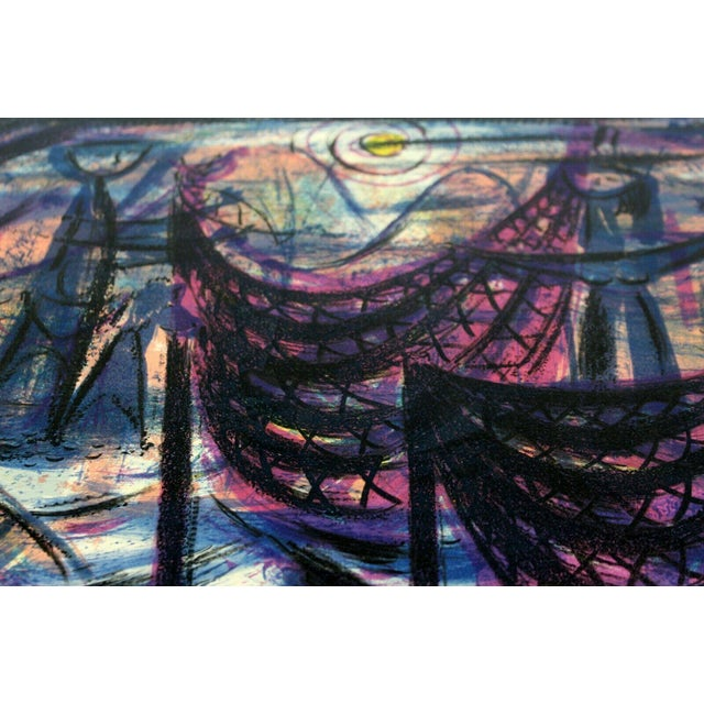 """Mid 20th Century """"Tenants Harbor"""" by Emil Weddige Unframed Lithograph For Sale - Image 5 of 6"""