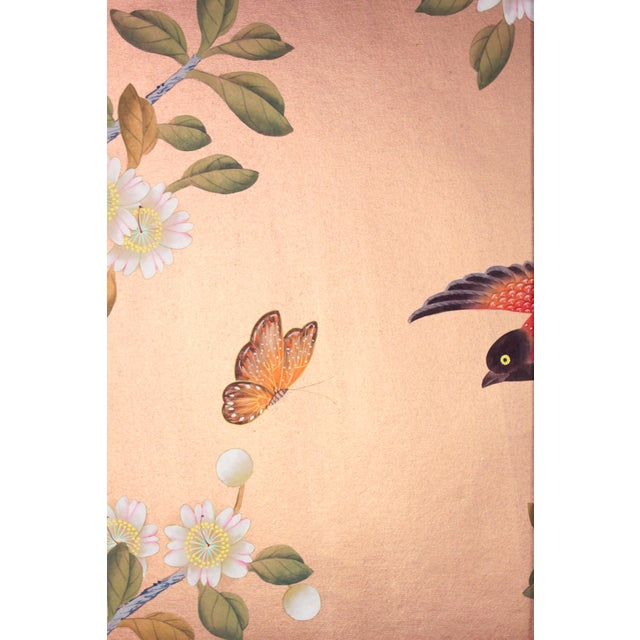 Asian Rose Gold Silk Chinoiserie Wallpaper Diptych Paintings - 2 Pieces For Sale - Image 3 of 8