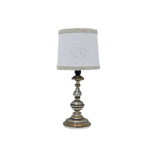 "Antique French Damask ""M T"" Monogram Lamp Shade For Sale"