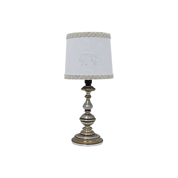 "Antique French Damask ""M T"" Monogram lampshade For Sale"