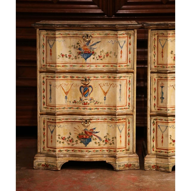 19th Century Italian Carved Chests of Drawers With Bird Painted Decor - a Pair For Sale - Image 4 of 13