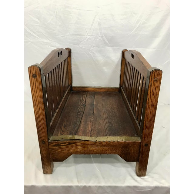 Arts & Crafts Stickley Inspired Arts and Crafts Firewood Hod For Sale - Image 3 of 7