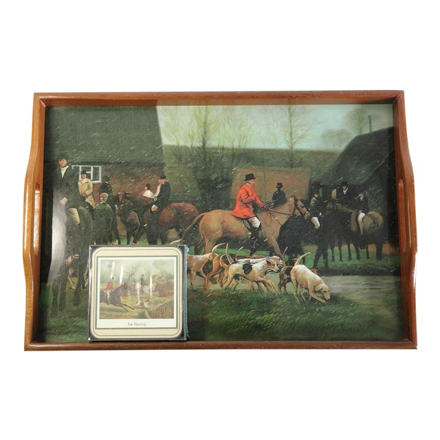 Fox Hunting Equestrian Coasters and Tray Set For Sale