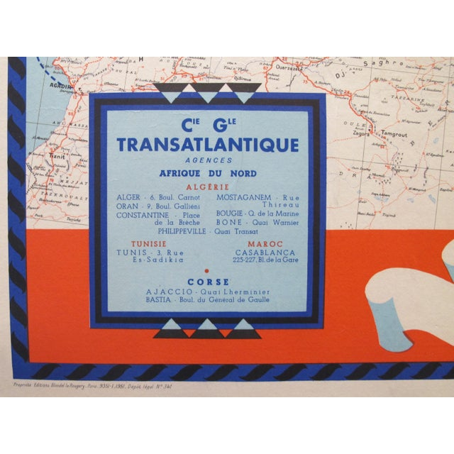 French 1950 Original French Maritime Map, North Africa For Sale - Image 3 of 6
