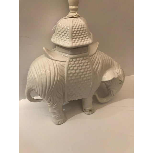 Asian 1980s Vintage Blanc De Chine White Ceramic Elephant Table Lamp For Sale - Image 3 of 11