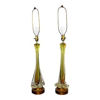 1950s Mid-Century Modern Murano Seguso Yellow and Green Glass Table Lamps - a Pair For Sale