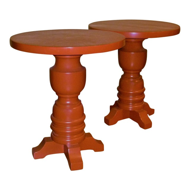 Pair of Architectural Mid-Century Modern Orange Lacquered Side Tables, 1960s For Sale