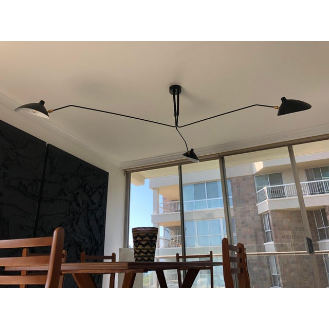 Black Serge Mouille Style Three Rotating Arms Ceiling Sconce Lamp For Sale - Image 8 of 8
