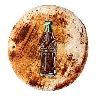 Vintage Coca-Cola Round Button Sign For Sale