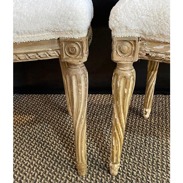 Pair of Jansen Distressed Sherpa Upholstered Side Chairs For Sale - Image 9 of 10
