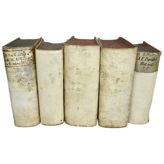 Mid 18th Century Vellum Books Collection - Set of 5 For Sale