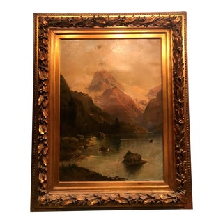 Expressionist Oil Painting of Mountain & Lake Landscape in Gilded Wood Frame For Sale